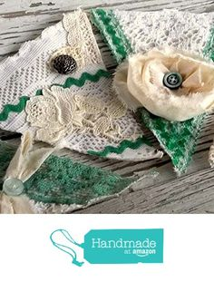 Shabby Fabric Christmas Banner, Garland, Green and White Lace and Ruffle Victorian Bunting, FREE SHIPPING Eco Friendly Holiday Decor from Zero Names Left http://www.amazon.com/dp/B01680D5WU/ref=hnd_sw_r_pi_dp_g.sJwb08WFXRA #handmadeatamazon