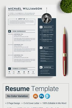 Clean & Modern Resume/cv template to help you land that great job. The flexible page designs are easy to use and customize, so you can quickly tailor-make your resume for any opportunity. A4 size (210X297mm) + 3 mm bleed MS Word, EPS & PSD file included Quick and easy to customise templates Well Labeled and Organized Layer Print Ready 300 DPI, CMYK Free Fonts Used All objects, colors, & text are editable Free Cv Template Word, Simple Resume Template, Modern Resume Template, Resume Templates, Best Cv Template, Visual Resume, Basic Resume, Resume Cv, Professional Resume