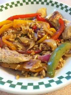 Farro...with chicken and peppers funfoodiefamily.com