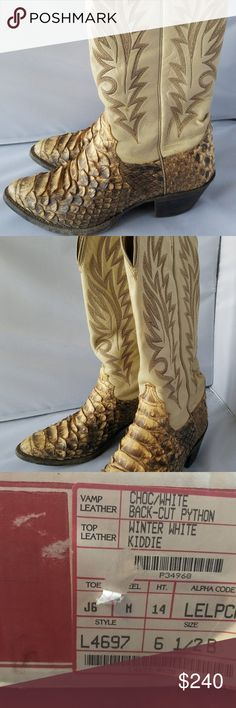 Justin Bootmakers Python Skin Leather Cowboy Boots Justin Bootmakers Python Skin Leather Beige Natural Cowboy Western Boots 6.5 C Python Leather womens boot size 6.5  Will not ship with box unless extra fee applied  Looks only gently used  Choc/white back cut python Justin Boots Shoes