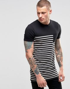 ASOS Longline Muscle Fit T-Shirt With Stripe And Contrast Pocket In Black
