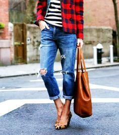 Cropped jeans, leopard flats, striped shirt, jacket