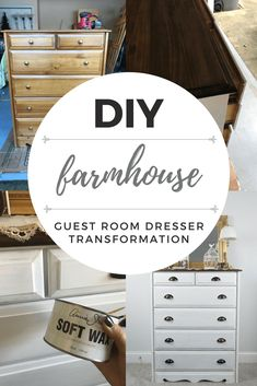 Farmhouse Guest Room Dresser Transformation / DIY Furniture Flip Before + After // Farmhouse Dresser, Dresser Flip, Flipping Furniture, Valspar Furniture Paint, Re-finishing Furniture, Re-staining furniture, farmhouse furniture, DIY furniture, Annie Sloan Chalk Paint, shabby chic furniture, how-to re-finish furniture, how-to chalk paint furniture, DIY furniture re-do