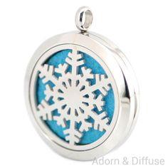 Snowflake Diffuser Locket Necklace