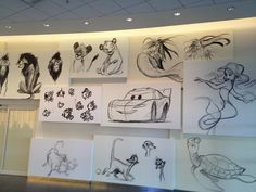 Sketches on wall of Animation Hall