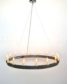 HALO Wine Barrel Ring Chandelier  V16 - 100% RECYCLED from Napa Wine Barrels