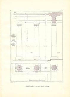 Drawing Tuscan Columns Vignola Steel Engraving by carambas on Etsy, $14.00