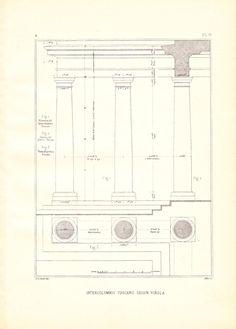 Drawing Tuscan Columns Vignola Steel Engraving by carambas on Etsy, $14.00