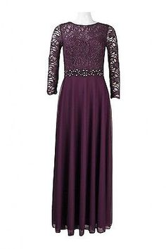 Designer Cachet Long Chiffon Plum Mother of the Bride Groom Gown Party Dress