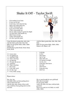 Shake It Off – Taylor Swift ( ) Got nothing in my brain ( ) I stay out too late ( ) Can't stop, won't stop moving ( ) But ...