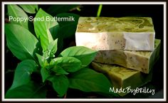 Poppy Seed Buttermilk. Handmade Gardeners soap with Thyme, Lavender & Peppermint Essential Oils