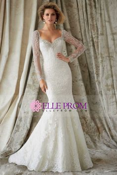 2015 Wedding Dress Full Sleeves Beaded Neckline Mermaid/Trumpet Court Trian With Applique