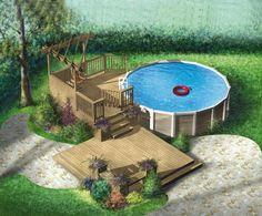 Cette terrasse en bois est idéale pour transformer votre arrière-cour. Isolée de la maison, elle possède deux niveaux, dont un qui entoure une piscine, et comprend une pergola en coin.