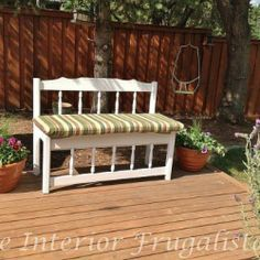 garden bench made from old bed