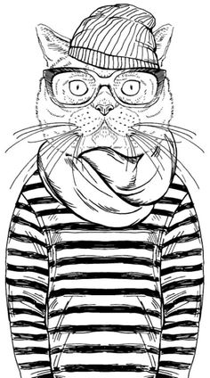 cool cat coloring page from cleverpediacom - Cool Color Pages
