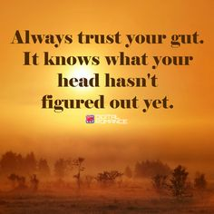 Always trust your gut.  It knows what your head hasn't figured out yet.  #instincts #wordsofwisdom #quotes