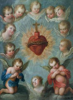 Sacred Heart of Jesus surrounded by angels Painting  - Sacred Heart of Jesus surrounded by angels Fine Art Print