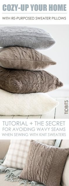 10 Upcycled Sweater Winter Decor DIY Projects Now that the holidays are over, your home may be feeling a bit bare. Make it pretty again with one of these 10 upcycled sweater winter decor DIY projects! Sweater Pillow, Old Sweater, Knit Sweaters, Man Pillow, Sweater Quilt, Pillow Fight, Diy Pillows, Decorative Pillows, Pillow Ideas