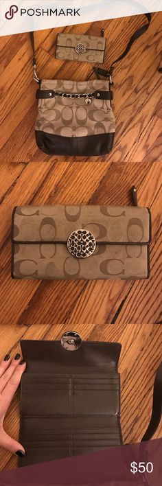 Coach cross-body purse with matching wallet Used Coach purse with matching wallet. Slight wear and tear but overall still in good condition! Coach Bags Crossbody Bags