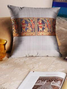 Grey Handloom Silk Cushion Cover  16in x  16in