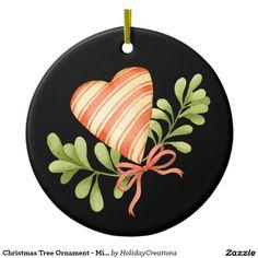 Christmas Tree Ornament - Mistletoe & Heart  #christmas #holidays #ornaments  #home #shopping #style #christmastree #homedecor #gifts #misletoe #heart