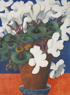 Edward Burra (English, 1905-1976), Cyclamen, c. 1956. Pencil, watercolour and gouache