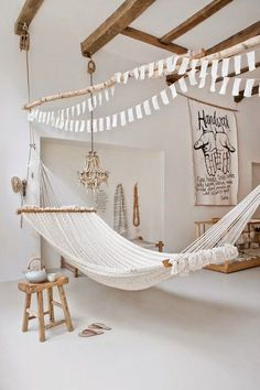 Large hammock in white room with wood accents - Decoist My New Room, My Room, Country Style Living Room, Indoor Hammock, Hammocks, Rope Hammock, Backyard Hammock, Indoor Swing, Hammock Stand