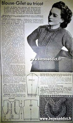 GRATUIT 65 Patrons Tricot Vintage 1940 FREE 65 Knitting Patterns