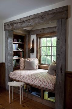 Cozy nook I want one of these in my new house soooo bad! I will cuddle up with a cozy blankie and read for hours!!!!! Really going to try and maneuver getting one of these!