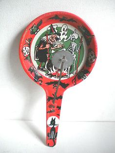 Vintage Halloween Noisemaker ~ Tin Litho Witch & Skeleton Pan Clacker by U.S. Metal Toy Co. * Circa, 1950-60's