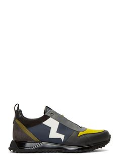 FENDI Men's Contrast Lightning Bolt Sneakers in Black. #fendi #shoes #