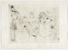 Marc Chagall. The Morning Tea (Le Thé du matin), plate XVIII (supplementary suite) from Les Âmes mortes. 1923-48