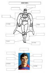 English worksheet: body parts of a superhero