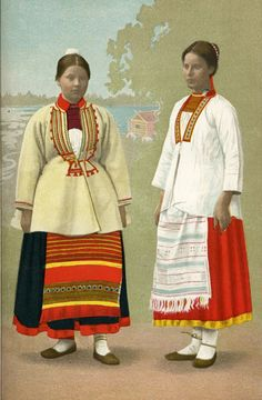 Folk Costume, Costumes, Traditional Outfits, Finland, Cool Outfits, Sari, Embroidery, Folklore, Roots