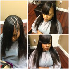 Full sew in with a side bang straightened to perfection no glue or spritz needed #schaclethehairmagician #salonlife #magic #talent