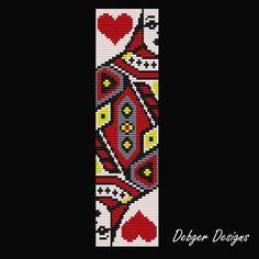Queen of Hearts Loom Bracelet Cuff Pattern by LoomTomb on Etsy