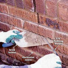 home repairs,home maintenance,home remodeling,home renovation Mortar Repair, Brick Repair, Home Renovation, Fireplace Mortar, Diy Household Tips, Cleaning Tips, Brick Face, Masonry Wall, Diy Home Repair