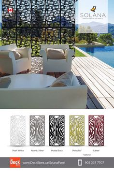 Solana laser cut panels screens exclusively available @deckstore.ca Laser Cut Screens, Laser Cut Panels, Outdoor Rooms, Outdoor Living, Outdoor Decor, Panel Mdf, Stainless Steel Screen, Shade Screen, Barbecue