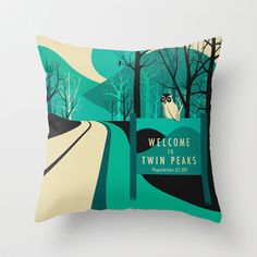 Twin Peaks Throw Pillow by Jazzberry Blue - $20.00