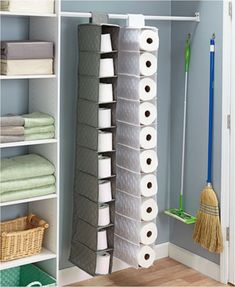 Store bulk items such as paper towels, toilet paper, or shoes in this Oversized Quilted Hanging Storage unit. It Store bulk items such as paper towels, toilet paper, or shoes in this Oversized Quilted Hanging Storage unit. Paper Towel Storage, Toilet Paper Storage, Hanging Storage, Paper Towels, Linen Storage, Diy Hanging, Bathroom Organization, Organization Hacks, Bathroom Storage
