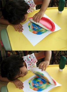 Interesting low-tech art project. All you need is paper, a paper plate and paint.
