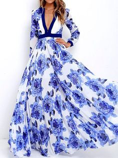 Womens Long Dress Ladies Summer V Neck Boho Blue Floral Print Maxi Dresses Full Sleeve Bohemian Maxi Dress Robe Femme Full Skirt Dress, Maxi Dress With Sleeves, Dress Up, Dress Long, Boho Dress, Swing Dress, Skater Dress, Lace Dress, Wrap Dress