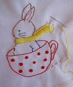 Bunny Tea Cup Embroidery