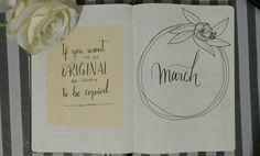 March bullet journal spread, quote, wreath, flower, adelfa, black and white, minimalist