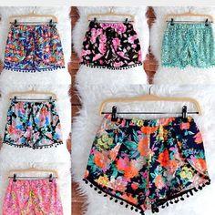Colorful pom pom shorts
