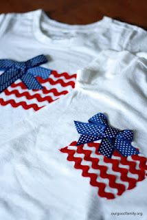 of july ribbon projects sewing diy shirt, july crafts, p Patriotic Crafts, July Crafts, Holiday Crafts, Holiday Fun, Patriotic Party, Patriotic Shirts, Party Crafts, Patriotic Clothing, Patriotic Decorations