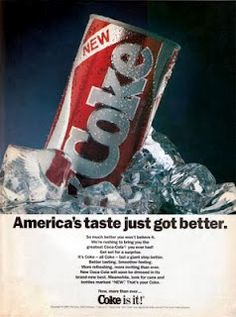 Coca Cola's New Coke 1985 ad. This ad aimed at several different communication objectives, the main two being of attitude change and creating a new brand image/product. The ads of the time tried to persuade the world of a new Coke by saying it was tasty, cool, and new, but still very much Coke. It failed.