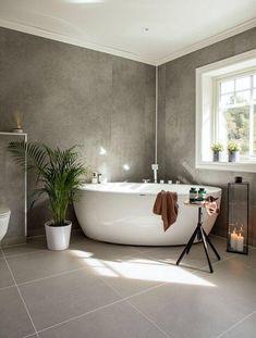 Beige Bathroom, Modern Bathroom Decor, Grey Bathrooms, Small Bathroom, Bathroom Ideas, Bathroom Lighting Inspiration, Built In Around Fireplace, Norwegian House, Mid Century Bathroom