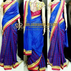SDS-DS3 FABRICS: chanderi and jute. Customized blue and pink combination saree with simple boat neck thread work blouse for a dear customer. To place an order plz inbox us or mail us at siridesignerstudio@gmail.com Thank you.