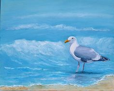 "Etsy Artist Original beach painting with seagull on sale! Featured at Beach Bliss Living: http://beachblissliving.com/affordable-original-sea-beach-paintings-by-etsy-artists/ 16x20"" $75"